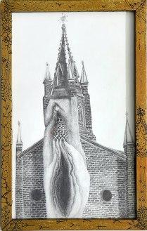 Dessin église vulve - Amélie Lamontagne
