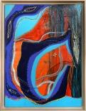 Tunnels, peinture acrylique, peinture pour faux-vitrail Pébéo, cerne relief, pastel gras, Pan pastel, noyau de citrouille, noyaux de citron, 50 cm x 65, 4 cm, 2018 300.00$