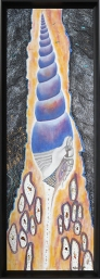 Décollage, dessin au graphite, pastel sec, fusain, peinture pailletée, flocons métallisés, 34 cm x 95 cm, 2019 400.00$