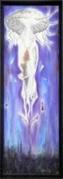 Que ta volonté soit faite à travers tout ton océan, dessin au graphite, pastel sec, fusain, peinture pailletée, morceaux de miroir, 34 cm x 95 cm, 2019 400.00$