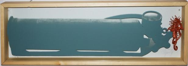 Un homme à la mer, sérigraphie sur verre avec cerne relief cuivre, 33, 2 cm x 94 cm x 7, 5 cm, 2015-2016 vendue