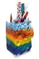 Renouveaux, styromousse, urethane, morceaux de verre, aiguilles, argile, noyaux, laine, 24 cm x 60 cm x 29 cm, 2019 400.00$