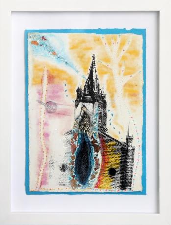 Les vents de la couleur, sérigraphie sur papier BFK Rives, peinture à paillettes, Pan pastel 19 cm x 28 cm, 2018 150.00$