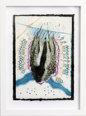 L'écartée au jardin, sérigraphie sur papier BFK Rives, peinture à paillettes, Pan pastel 19 cm x 28 cm, 2018 150.00$