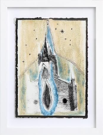 La maîtresse de la nuit, sérigraphie sur papier BFK Rives, peinture à paillettes, Pan pastel 19 cm x 28 cm, 2018 150.00$