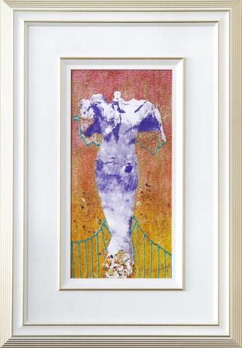 Mue, sérigraphie, pastel sec, cerne relief, peinture pailletée, flocons métallisés, 32 cm x 47 cm, 2019 180.00$