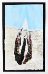La tête sous l'eau, sérigraphie sur papier BFK Rives, feutres, peinture à paillettes, Pan pastel, 18 cm x 30 cm, 2018 vendue