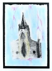 Dans mes vapes, sérigraphie sur papier BFK Rives, peinture à paillettes, Pan pastel 19 cm x 28 cm, 2018 150.00$