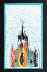Enflammée, sérigraphie sur papier BFK Rives, feutres, cernes relief, 18 cm x 30 cm, 2018 vendue Enflammée, sérigraphie sur papier BFK Rives, feutres, cernes relief, 18 cm x 30 cm, 2018
